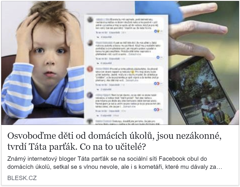 Blesk.cz zaznamenal vlnu kolem povinných domácích úkolů